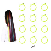 FESHFEN 12 Pcs Fluorescein Straight Clip on in Hair Extensions Hairpieces 50cm Long Remy Hair Coloured Party Highlights Hair Accessories DIY Hair Decoration Cosplay with Gift Hairpin