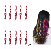 FESHFEN 10 Pcs Burgundy Curly Wave Clip on in Hair Extensions Hairpieces 46cm Long Remy Hair Coloured Party Highlights Hair Accessories DIY Hair Decoration Cosplay with Gift Hairpin