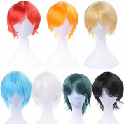 30cm Short Cosplay Wigs Synthetic Curly Full Wig Colour Opt