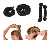 iHome Fusion Beauty Magic Hair Donut Twist Ring Hair Bun Maker With Clip Button 2PCS Small & Large