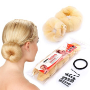 Sent Hair 2 Pieces Donut Hair Bun Maker,Chignon Bun Maker Blonde