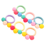 6 Pieces Colourful Girls Ponytail Holders Elastic Band Plush Ball Hair Tie Rubber Rope Hair Ring