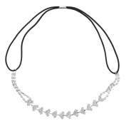 Lux Accessories Silver Tone Pave Stone Bling Special Occasion Stretch Head Wrap