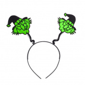 Lux Accessories Halloween Black n Green Festive Ugly Witch Face Bopper Headband