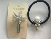 Face Forever Starfish Hair Clips and Starfish & Pearl Alligator Hair Tie Starfish & Pearl 2 Colours Gold and Silver