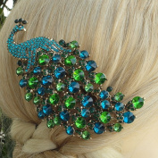 Sindary 11cm Charming Bird Peacock Hair Comb Animal Headpiece Turquoise Green Rhinestone Crystal Gold Tone Party Hair Jewellery HZ5651