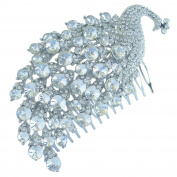 Sindary 11cm Charming Peacock Bridal Hair Comb Wedding Headpiece Clear Rhinestone Crystal Silver Tone HZ5651