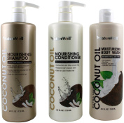 NatureWell Extra Virgin Coconut Oil Nourishing Shampoo, Conditioner and Body Wash