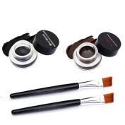Fheaven 2Pcs Waterproof Eye Liner Eyeliner Shadow Gel Makeup Cosmetic Brush Brown Black
