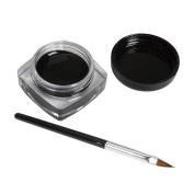 Fheaven 2 PCS Mini Eyeliner Gel Cream With Brush Makeup Cosmetic Black Life Waterproof
