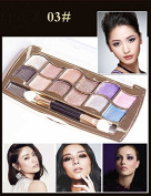 Tmalltide Professional Eye Makeup 12 Colours Eyeshadow Palette Gold Glitter Bright Shimmer Smoky Cosmetics Makeup Palette Diamond Bright Glitter Eye Shadow
