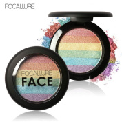 Fheaven FOCALLURE Rainbow Highlight Eyeshadow Palette Baked Blush Face Shimmer Colour