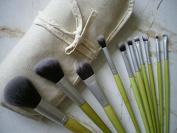 LaiFeiYa - 10pcs Fresh Green Bamboo Handle Makeup Brush Set with Canvas Bag And OPP Bag