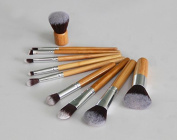 LaiFeiYa - 10pcs Professional Beauty Bamboo Makeup Brushes Kit Make Up Set with Travel Pouch