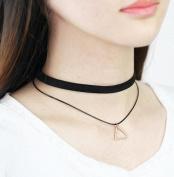 Joker ribbon flannelette double triangle necklace