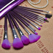 Professional 16Pcs Makeup Brushes Cosmetic Brush Set with Leather Case Purple