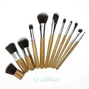 Eyeshadow Foundation Concealer Makeup Brush Wood Handle Cosmetic Set 11Pcs