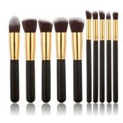 Pro 10pcs Makeup Cosmetic Blush Brush Eyebrow Foundation Powder Brushes Kit Set