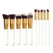 White+Gold Pro Makeup Cosmetic 10pcs Brushes Set Powder Foundation Eyeshadow Lip Brush Tool