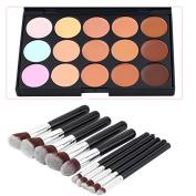 15Color Concealer + 10pcs Black Brush Cosmetic Contour Face Cream Makeup