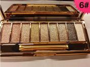 9 Colours Glitter Eyeshadow Eye Shadow Palette & Makeup Cosmetic Brush Set NEW #6
