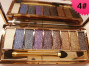 9 Colours Glitter Eyeshadow Eye Shadow Palette & Makeup Cosmetic Brush Set NEW #4