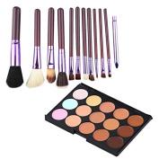 15Color Concealer + 12pcs Purple Brush Cosmetic Contour Face Cream Makeup
