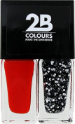 2B Colours Nail Polish Duo -Abstract Red & Silver Glitter