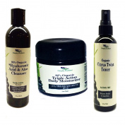 Simply Radiant Beauty Organic Face Cleaning Set- Hyaluronic Acid Cleanser, Citrus toner, Triple Action Daily Moisturiser