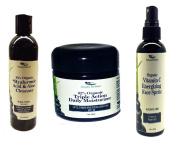 Simply Radiant Beauty Organic, All Natural Facial Care Set- Hyaluronic Acid Cleanser, Vitamin C Spritzer Toner and Triple Action Daily Moisturiser