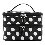 Blazers18 Portable Cosmetic Bag Waterproof Double Zipper with Mirror