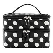 Blazers18 Portable Cosmetic Bag Waterproof Double Zipper with Mirror
