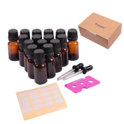 10ml Oil Bottles For Essential Oils, Teenitor® 16 Pcs High Quality 10 ml Amber Glass Vials Bottles, W/euro Dropper and Black Caps, With 2 Free Glass Eye Droppers/Stickers/Keys.
