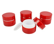 TOPWEL 5PCS 15g/30g Refillable Silver edge Red Double Wall Plastic Cosmetic Jars Cream Jar