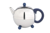 bredemeijer Bella Ronde Special Double Walled Teapot, 1.2-Litre, Stainless Steel Glossy Finish with Blue Accents