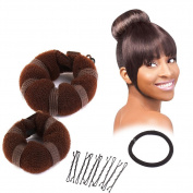 Sent Hair 2 Pieces Donut Hair Bun Maker,Chignon Bun Maker Brown
