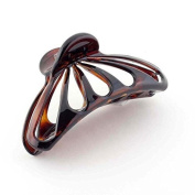 Parcelona French Rain Drop Large Celluloid Shell Claw Jaw Hair Clip with Covered Spring - 10cm