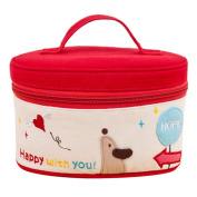 Happy Cherry Lady's Cute Cotton Cloth Travel Portable Barrel Makeup bag Storage Holdbag,Red