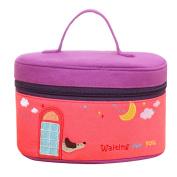 Happy Cherry Lady's Cute Cotton Cloth Travel Portable Barrel Makeup bag Storage Holdbag,Purple