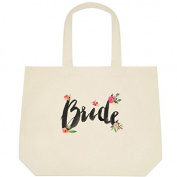 """Heartfelt Hospitality Floral """"Bride"""" Brush Font Canvas Wedding Bride Tote Bag"""