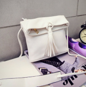 Cutey Small White PU Women's Fashion Crossbody bag With Tassel?Lady Handbag Good for Holiday, gift, outdoor (White)-. From NY