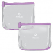 TSA Approved Clear Travel Toiletry Bags (Bundle of 2) - 2 Purple Clear Toiletry Bags - Super Durable, Heavy Duty Zipper & Material