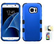 Galaxy S7 Case, [Blue+Black] Shock Absorbing Two Layer Rubber Plastic Impact Defender Hard Cover Shell Momiji Cleaning Cloth, [Screen Guard] For for Samsung Galaxy S7