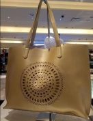 NEIMAN MARCUS Leather Geometric Cut Out Extra Large Gold Tote Shopper Travel Bag