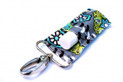 LippyClip Chapstick Holder, Lip Balm Holder, Clip-On Chapstick, Grey with Turquoise and Lime Flowers