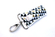 LippyClipTM Chapstick Holder, Lip Balm Holder, Clip-On Chapstick, Black and Gold Triangles
