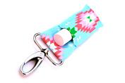 LippyClipTM Chapstick Holder, Lip Balm Holder, Clip-On Chapstick, Blue with Pink/Green Aztec