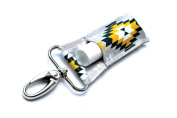 LippyClipTM Chapstick Holder, Lip Balm Holder, Clip-On Chapstick, Grey with Navy and Yellow Aztec