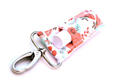 Chapstick Holder, Lip Balm Holder, Clip-On Chapstick, Coral Mint and Gold Floral