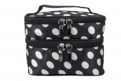 Maketop TM Cosmetic Bag Black and White Polka-Dot Makeup Bag